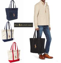Ralph Lauren Canvas Street Style A4 Bi-color Plain Totes