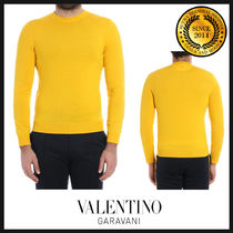 VALENTINO Crew Neck Pullovers Wool Long Sleeves Plain Knits & Sweaters