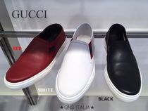 GUCCI Plain Leather Slip-On Shoes