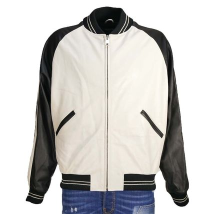 Short Street Style Plain Leather Varsity Jackets