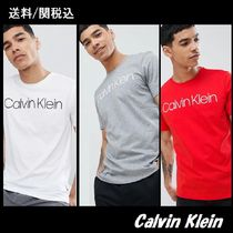 Calvin Klein Crew Neck Pullovers Street Style Cotton Short Sleeves