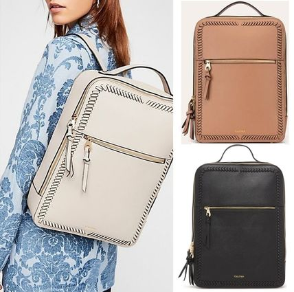 Faux Fur A4 2WAY Plain Office Style Backpacks