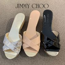 Jimmy Choo Open Toe Enamel Blended Fabrics Plain Sandals