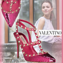 VALENTINO Studded Plain Leather Pin Heels Party Style With Jewels