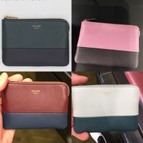 CELINE Zipped Unisex Plain Leather Coin Purses