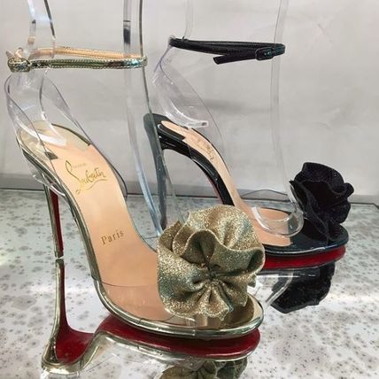 9340310f52dc ... Christian Louboutin Heeled Open Toe Blended Fabrics Plain Pin Heels  Party Style ...
