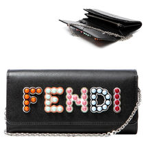 FENDI Plain Leather Chain Wallet Long Wallets