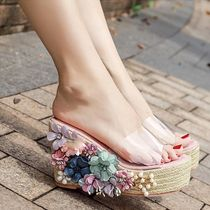 Flower Patterns Round Toe Faux Fur Blended Fabrics