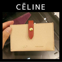CELINE Unisex Bi-color Plain Leather Card Holders
