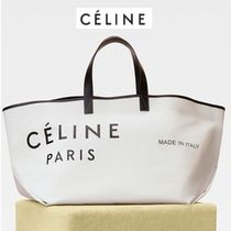 CELINE Casual Style Calfskin Blended Fabrics A4 Plain Totes