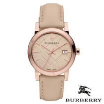 Burberry Casual Style Leather Round Quartz Watches Analog Watches