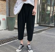 Linen Street Style Plain Oversized Dark Brown Sarouel Pants