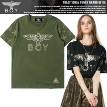 BOY LONDON Casual Style Studded Street Style U-Neck Cotton Medium