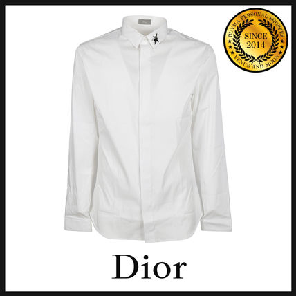 Button-down Long Sleeves Plain Cotton With Jewels Shirts