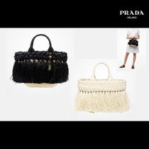PRADA Unisex Blended Fabrics Leather Fringes Crossbody Straw Bags