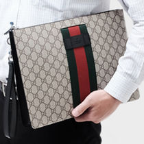 GUCCI Stripes Monogram Canvas Blended Fabrics A4 Clutches
