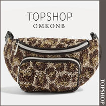 TOPSHOP Leopard Patterns Casual Style Shoulder Bags
