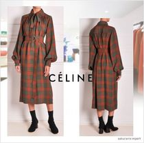 CELINE Other Check Patterns Long Sleeves Medium Shirt Dresses