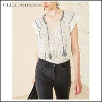 ULLA JOHNSON Tassel Cotton Medium Short Sleeves Elegant Style