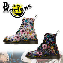 Dr Martens Flower Patterns Round Toe Rubber Sole Casual Style