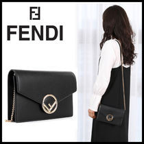FENDI Plain Leather Elegant Style Clutches