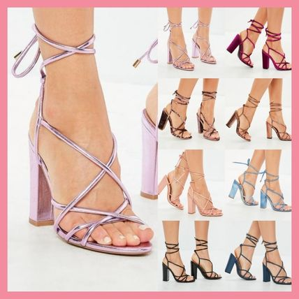 Open Toe Lace-up Plain Block Heels Party Style
