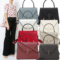 Valextra Calfskin 2WAY Plain Elegant Style Handbags