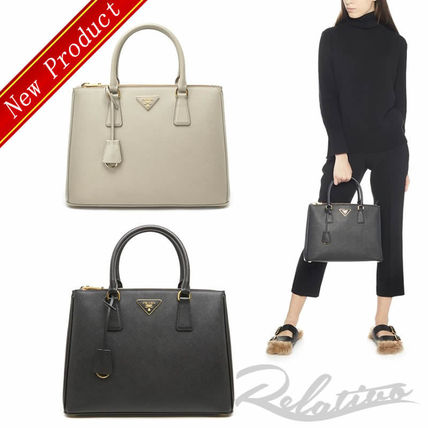 Saffiano 2WAY Plain Elegant Style Handbags