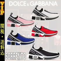Dolce & Gabbana Stripes Round Toe Rubber Sole Casual Style Street Style