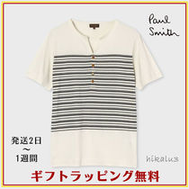 Paul Smith Stripes Henry Neck Cotton Short Sleeves Henley T-Shirts