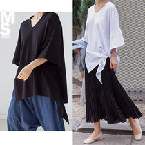 V-Neck Plain Cotton Long Short Sleeves Oversized T-Shirts