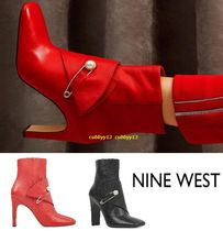 Nine West Plain Leather Pin Heels Ankle & Booties Boots