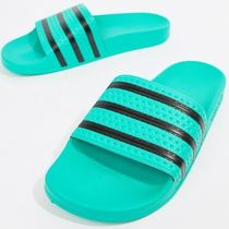 adidas ADILETTE Stripes Unisex Street Style Plain Shower Shoes PVC Clothing