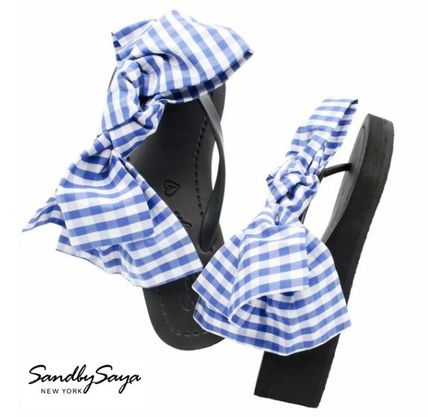Gingham Casual Style Handmade Flip Flops PVC Clothing