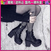 DOLLS KILL Lace-up Casual Style Faux Fur Lace-up Boots