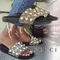 GUCCI Monoglam Open Toe Rubber Sole Casual Style Street Style