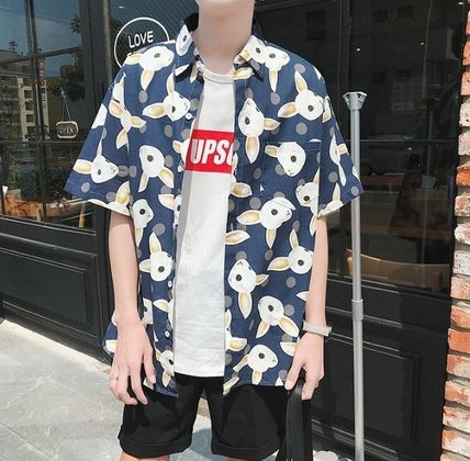 Shirts Street Style Other Animal Patterns Cotton Short Sleeves