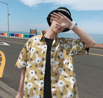 Shirts Street Style Other Animal Patterns Cotton Short Sleeves 2