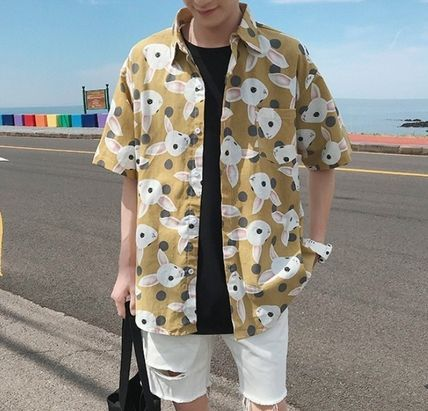 Shirts Street Style Other Animal Patterns Cotton Short Sleeves 3