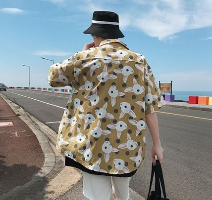Shirts Street Style Other Animal Patterns Cotton Short Sleeves 4