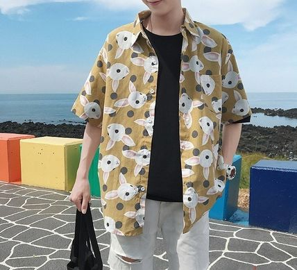 Shirts Street Style Other Animal Patterns Cotton Short Sleeves 5