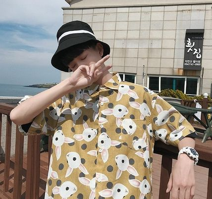 Shirts Street Style Other Animal Patterns Cotton Short Sleeves 6