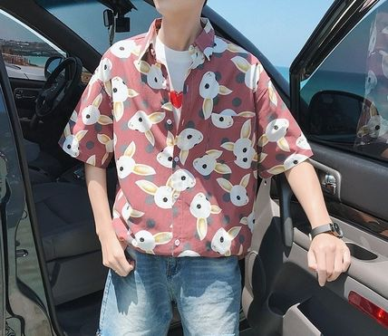 Shirts Street Style Other Animal Patterns Cotton Short Sleeves 7