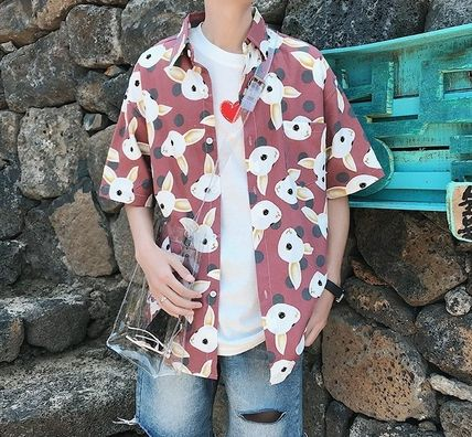 Shirts Street Style Other Animal Patterns Cotton Short Sleeves 11