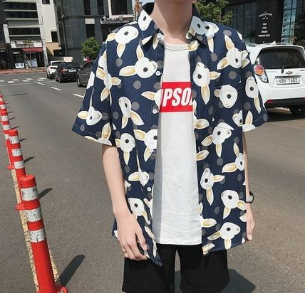 Shirts Street Style Other Animal Patterns Cotton Short Sleeves 12