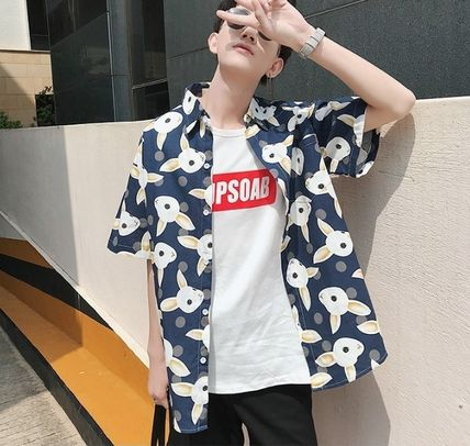 Shirts Street Style Other Animal Patterns Cotton Short Sleeves 13