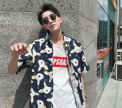 Shirts Street Style Other Animal Patterns Cotton Short Sleeves 15
