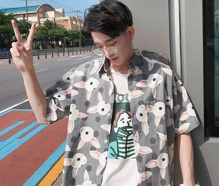 Shirts Street Style Other Animal Patterns Cotton Short Sleeves 16