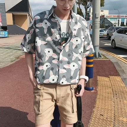 Shirts Street Style Other Animal Patterns Cotton Short Sleeves 17