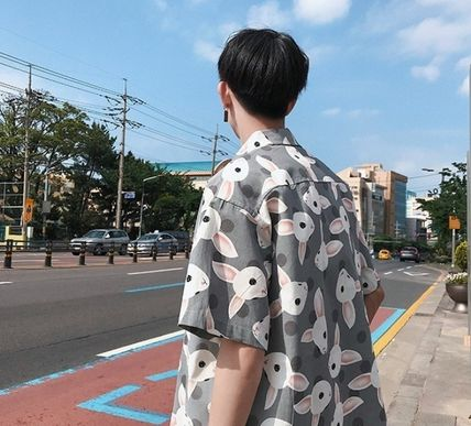 Shirts Street Style Other Animal Patterns Cotton Short Sleeves 18